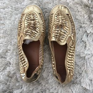 Tory Burch Gold Huarache Slip on Leather Sneakers